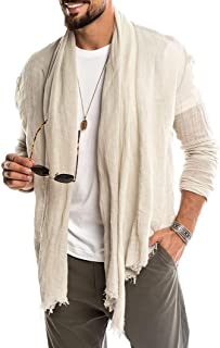 Mens Casual Cardigan Linen Cotton Long Sleeve Shawl Coat Cloak Open Front Cape Plain Outerwear
