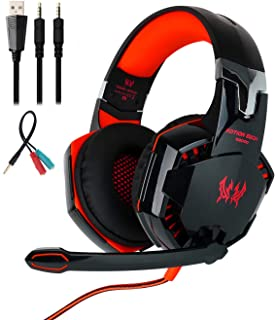 Mengshen Gaming Headset - with Mic, Volume Control and Cool LED Lights - Compatible with PC, Laptop, Smartphone, PS4 and X...