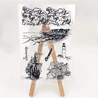 MaGuo Ocean Back Ground Clear Stamps Sea Wave for DIY Scrapbooking Paper Crafting Card Making Decoration