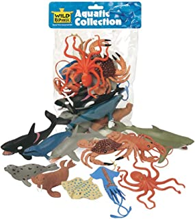 Wild Republic Polybag Aquatic, Octopus, Shark, Dolphin, Orca, Crab, Lobster, Blue Whale, Stingray, Squid, Harp Seal, Walrus, Gifts For Kids, 11 Piece Set