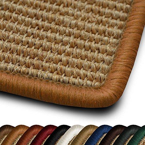 casa pura Sisal Läufer Teppich myStyle | Kettelung in Wunschfarbe | Naturfaser | viele Größen zur Auswahl (Kettelung Nougat, 100x250 cm)