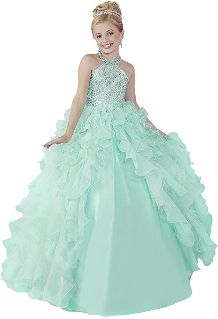 HuaMei Girls' Chiffon Halter Birthday Party Ball Gowns Kids Pageant Dresses