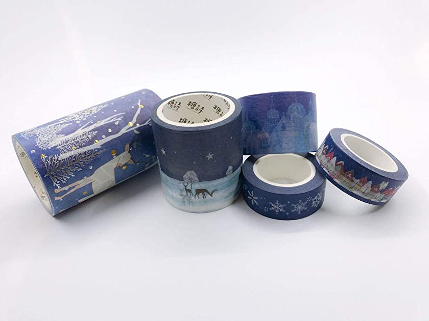 Blue Themed Christmas washi Tape Set. Incl Extra Wide. for Gift Wrapping, scrapbooks, Decorating, Party Trimming
