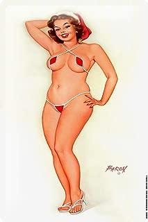 onepicebest 8x12 Metal Plate tin Sign Pinup Girl with Santa Claus hat Mini Bikini 0 Vintage