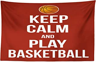 Lunarable Sports Tapestry, Keep Calm Play Basketball Words Motivational Phrase Pop Culture Poster Design, Fabric Wall Hanging Decor for Bedroom Living Room Dorm, 45