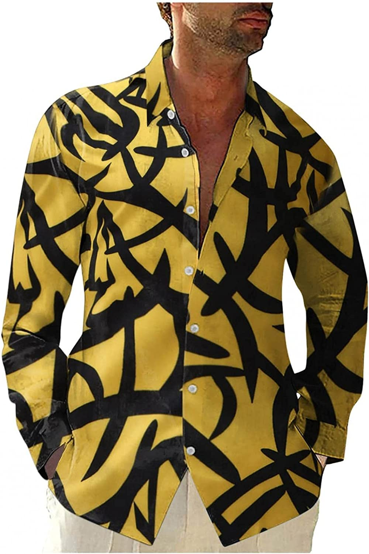 Burband Mens Floral Dress Shirts Long Sleeve Casual Button Down Hawaiian Beach Paisley Flower Printed Shirts Big and Tall