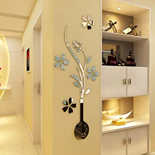 HEYING Mirror Flower Vase 3D Crystal Acrylic DIY Wall Stickers& Murals For Entranceway , Living Bedroom Dining Room Décor Home Decoration (15.75