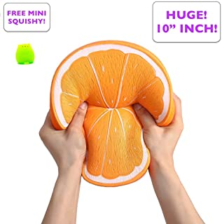 Simplistic Plus Jumbo Squishy Slow Rising Orange – Fully Textured and Detailed Fruit, Huge and Smells Yummy Too – Squishies are Ideal Stress Relief Toys and May Ease Anxiety