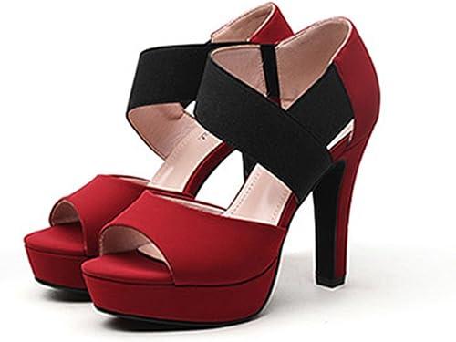 YTTY Bien avec Les Chaussures De Chaussures à Chaussures à Boulettes Orchestrales à Talons Romains Rouge 38