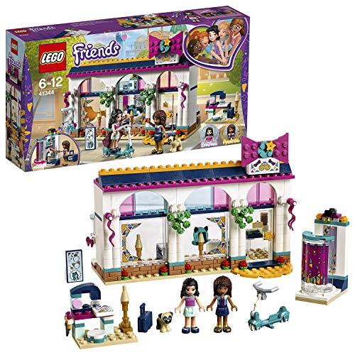 LEGO Friends Heartlake - Tienda de Accesorios de Andrea, Juguete Creativo de Construcción con Mini Muñecas de Andrea y Olivia y Muñeco de Perro Dexter (41344)