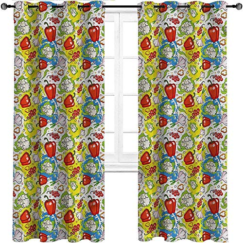 Interestlee Blackout Window Curtain, Vegetables Grommet Drapes for Living/Bedroom Patio Door, Pepper Delicious Plants Set of 2 Panels, 84 Width x 96 Length