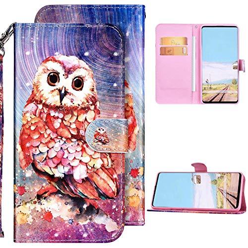 Kompatibel mit Samsung Galaxy S20 FE 5G Hülle Ledertasche Brieftasche Schutzhülle Flip Case,3D Glänzend Bling Bunt Bemalt Muster PU Leder Klapphülle Tasche Wallet Handyhülle,Eule