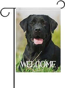 TropicalLife Welcome Black Labrador Dog on The Grass Polyester Garden Flag Banner 12 x 18 Inch Double Side Print Home Outdoor Patio Yard Garden Decor Flag