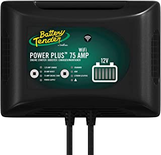 Battery Tender 75 Amp Engine Start Battery Charger: 12V, 20 AMP Booster, Car Battery Jump Starter, Booster, and Charger and Maintainer with Power Supply and Integrated Wi-Fi - 022-0227-DL-WH