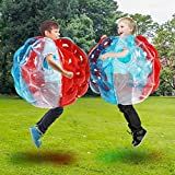 Inflatable Bubble Balls for Kids, Buddy Bumper Balls Sumo Game Kids Soccer Ball Giant Human Hamster Knocker Ball Body Zorb Ball for Kids & Adults Outdoor Team Gaming Play. (24inch, 1Red+1Blue+1Pure)