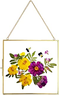 Art India Collections Home Decor Brass , Glass and Metal Hanging Picture Frame for Wall Decoration, with 2 Sides Glass - 6...