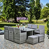 RayGar Deluxe 11 Piece 10 Seater Rattan Cube Dining Table Garden Furniture Patio Set (Grey/Grey)