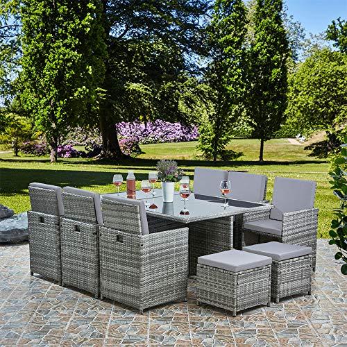 RayGar Deluxe 11 Piece 10 Seater Rattan Cube Dining Table Garden Furniture Patio Set (Grey/Grey)