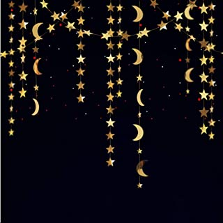 Reflective Glitter Star and Moon Garland Kit Star Garands/Streamers/Bunting Banner for Party Hanging Decoration … (Gold Star Moon Garland Kit)