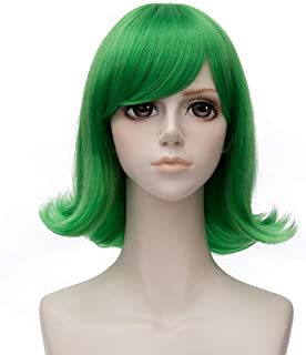 Wgior Movie Wig Blue Green Straight Party Cosplay Wigs For Character Disgust Sadness Costume (Green)