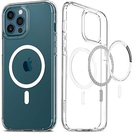 Spigen 全透明 iPhone12 Pro Max ケース 6.7インチ MagSafe 専用 ケース クリアケース 米軍MIL規格取得 耐衝撃 すり傷防止 ワイヤレス充電対応 マグセーフ 用ケース アイフォン12 プロ マックス ケース ウルトラ・ハイブリッド マグ ACS02622 (ホワイト)