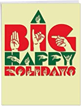 Big Signs Happy Holidays - Stylish and Elegant Winter Holiday XL Appreciation Card w/Envelope - Creative American Sign Language Inclusive Holiday XL Greeting Card 8.5 x 11 Inch J4974AHHG
