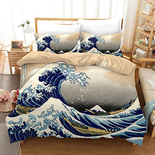 JKZHILOVE Bedding Duvet Cover 3 Piece Set Wonders of the sea 102x87 inch Ultra Soft Hypoallergenic Microfiber Quilt Cover Sets with Zipper Closure & Corner Ties + 2 Pillow covers 50x75cm