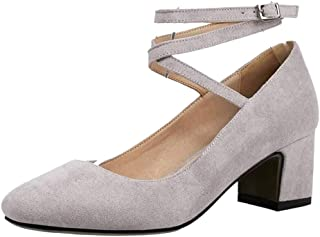 BeiaMina Women Fashion Ankle Wrap Heel Court Shoes Buckle