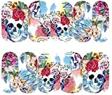 Sheet of Skull Stickers with Flowers Watercolor Phychedelic Effects Nail Decal Punk Gothic Rockabilly SKULL Nail Wrap Decals Sticker Salon Quality Nail Art - Great for Halloween!