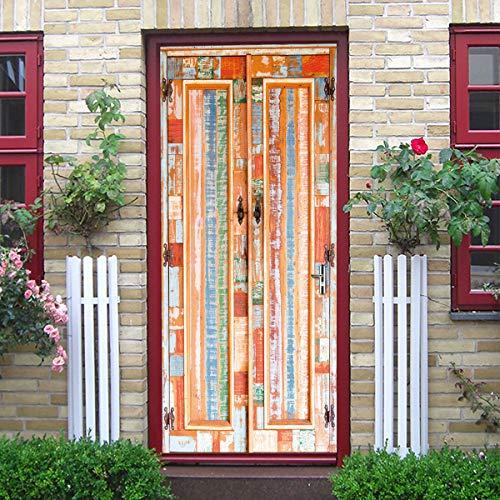 WYMAD Rustieke kast houten deur 3D stereo deur sticker home persoonlijkheid decoratieve muur sticker zelfklevende waterdicht
