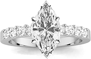 2 Carat GIA Certified Marquise Cut Classic Prong Set Diamond Engagement Ring (G-H Color VS1-VS2 Clarity Center Stones)