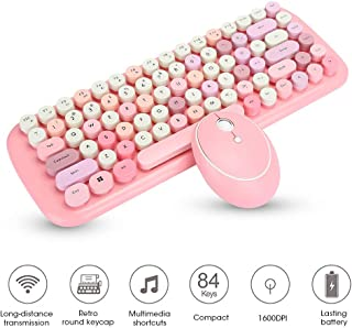 Tosuny Pink Keyboard and Mouse, Pink Wireless Keyboard and Mouse Combo with Mixed Colors Round Keycap, 2.4G Wireless Mini Keyboard Mouse Set with Sticker, No Delay,Multiple Colour, Office Supplies