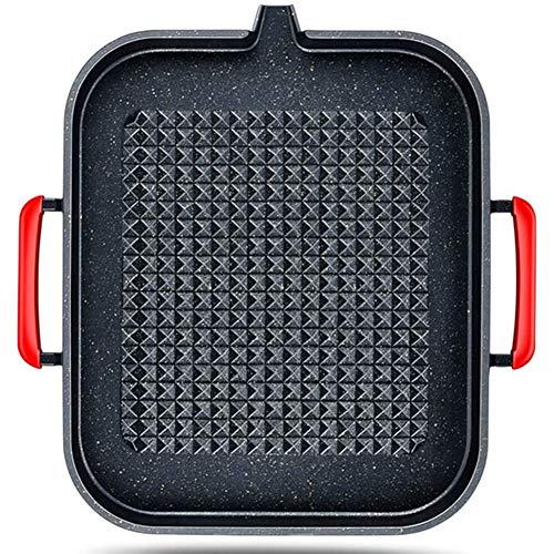 Grill Pan Met Antiaanbaklaag Tray Portable, Voor Inductiekookplaat, Gas-En Elektrische Huishoudelijke En Picknicken, Black