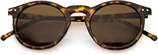 Vintage Retro Horn Rimmed Round Circle Sunglasses with P3 Keyhole Bridge