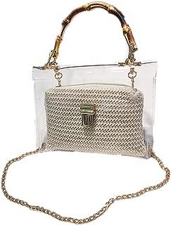 Handbags Women's Weave Texture Transparent PVC Waterproof Lightweight Crossbody Top-handle Wrist Bag