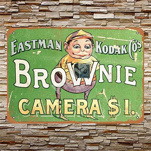 No/Brand 1904 Kodak Brownie Cameras Cartel de Chapa Metal Advertencia Placa de Chapa de Hierro Retro Cartel Vintage para Dormitorio Pared Familiar Aluminio Arte Decoración