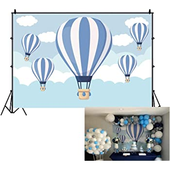 Haoyiyi 10x8ft First Birthday Backdrop Blue Ballons Rustic Wood Brick Gifts Gold Stars Photography Background Photo Wild One Boy Kids Baby Little Man Cake Table Decorations Banner