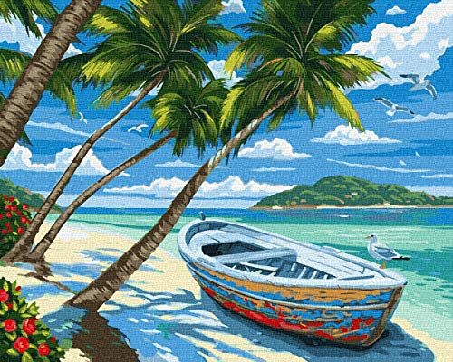 KOSE Paint by Numbers for Adults Beginner & Kids,DIY Oil Painting Kit on Canvas with Paintbrushes and Acrylic Pigment, Arts Craft for Home Wall Decor-16'W X 20'L Beach Hawaii