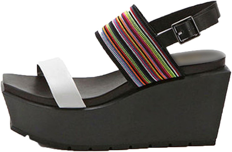 Running-sun Women Platform Sandals 9 cm High Heel Genuine Leather Wedges shoes for Women Sandals women