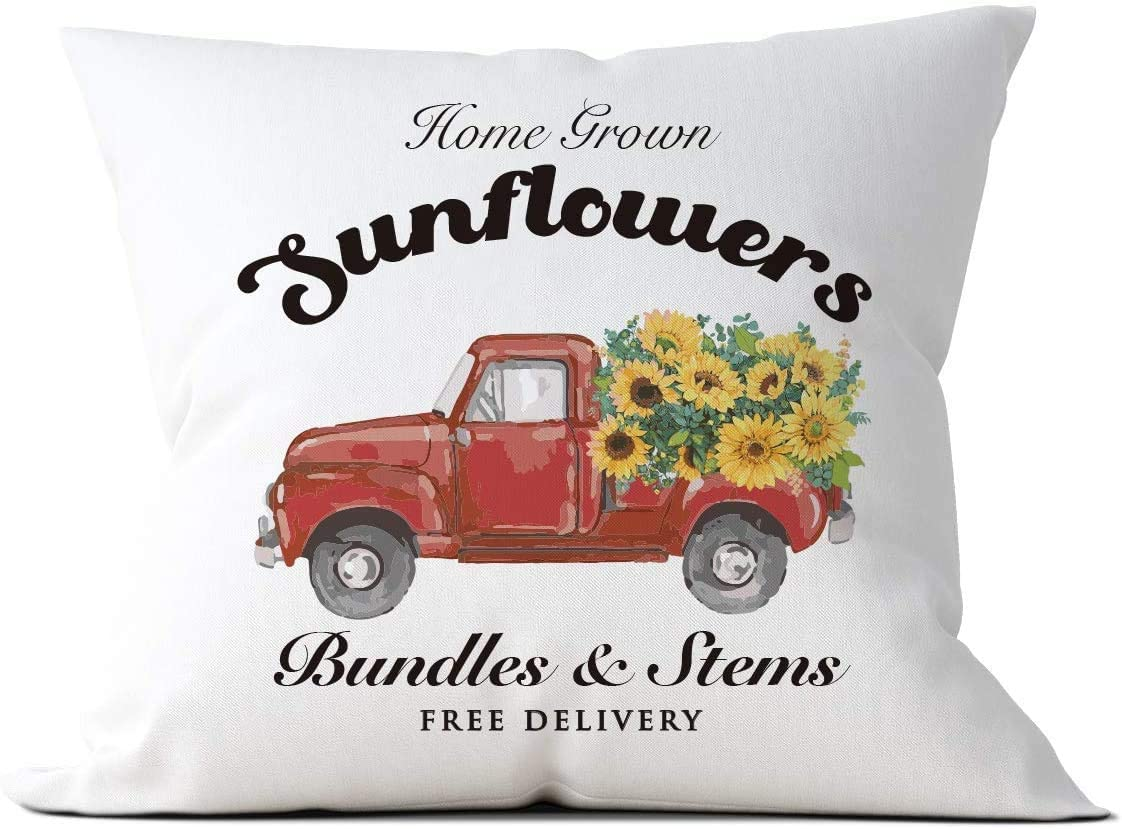 Sunflowers Max 63% OFF Floral Truck Throw Pillow Cushion Case B Oklahoma City Mall Home Covers