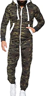 Maweisong Men's Hooded Camo Jumpsuit One-Piece Playsuit Blouse Hoodie Romper