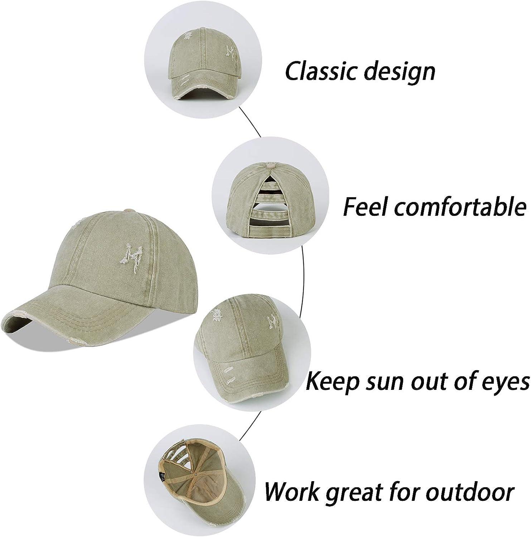 LANGZHEN High Bun Ponycaps Plain Baseball Cap Blank Vintage Washed Sun Dad Hat Cotton Adjustable Pony Cap for Women
