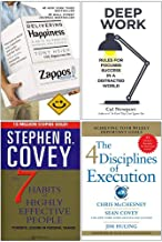 Delivering Happiness, Deep Work, The 7 Habits of Highly Effective People, 4 Disciplines of Execution 4 Books Collection Set
