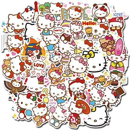 Suitcase Stickers Hello Kitty Computer Stickers Cute Cartoon PVC Decal Stickers for Laptop Vinyl product image