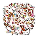 Suitcase Stickers Hello Kitty Computer Stickers Cute Cartoon PVC Decal Stickers for Laptop Vinyl Stickers Pack Waterproof Stickers for Water Bottles Flat Hello Kitty Sticker Pack KT Cat 100 Pcs