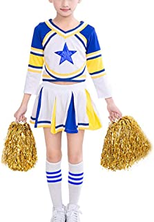 Cheerleader Costume for Girls Cheerleading Uniform Dress Outfit with Stockings 2 Pom Poms