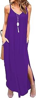 Womens Spaghetti Strap Maxi Dresses Pockets Casual Loose Cami Long Summer Dress