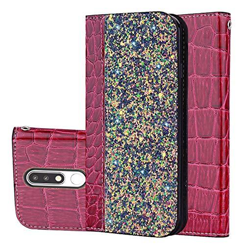 Slynmax - Funda de piel con tapa para Nokia 5.1 (cierre magnético), diseño de cocodrilo, Vino tinto