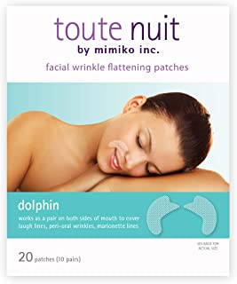 Toute Nuit Facial Wrinkle Flattening Patches, Dolphin - Full Coverage Around Mouth Anti-Wrinkle Patches, Face Tape - 20 Patches