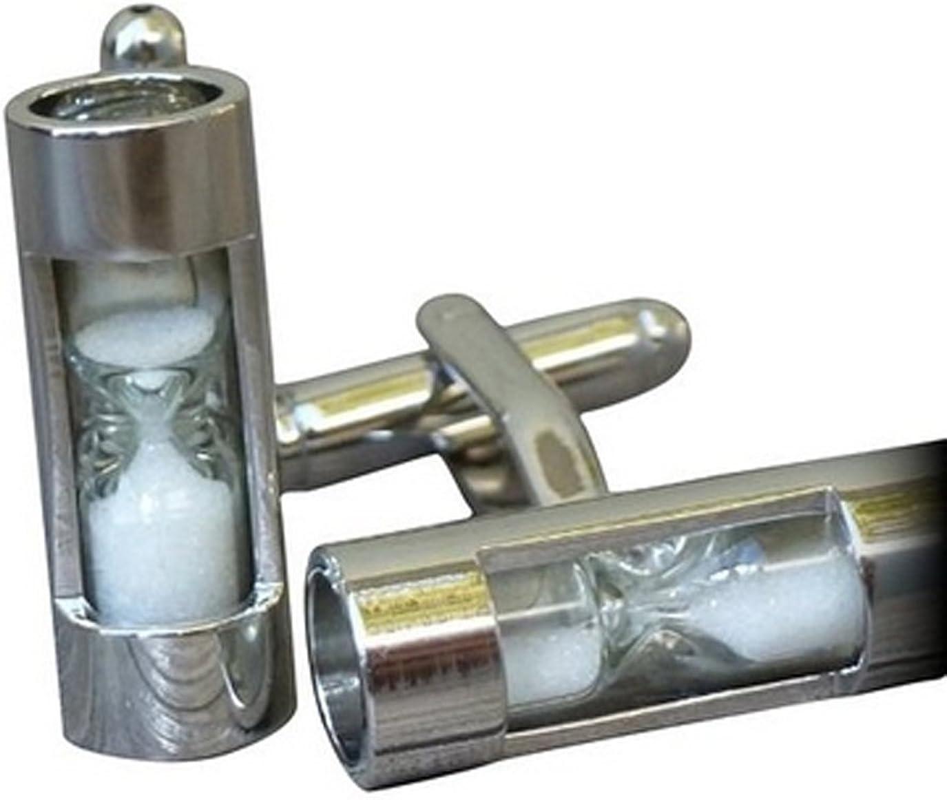 Utoy Sand Timer Hourglass Cufflinks Electroplate White Steel Hourglass French Shirt Men/Women Cufflinks
